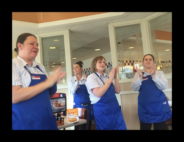 IHop ladies singing Happy Birthday!